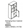 Swing Door Cabinet w/Glass 8005GL Grey