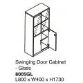 SHINEC Glass Door Cabinet w/Lock 8005GL (Gry)