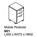 SHINEC Mobile Pedestal w/Lock M21 (Beech)