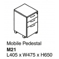 Mobile Pedestal with Lock M21 Cherry