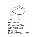 Half Round Connection Top with Metal Lag HRCT70 Grey