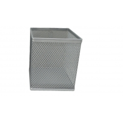 PU METAL SQUARE PEN HOLDER DS-008 SILVER