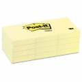 "3M Post-It Notes Pad 653 1.5""x2""(12 Pads x 100's, Yellow)"