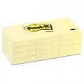"3M Post-It Notes, 1.5""x2"" (12 x 100's, Yel)"