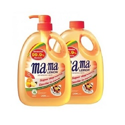 MAMA LEMON AntiBac Dishwash Liquid-Citrus w/Refill 1Lx2's