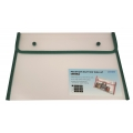 BINDERMAX A4 Colour Edge Button Wallet 01130 (Clear/Grn)