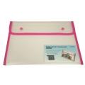 BINDERMAX A4 Colour Edge Button Wallet 01130 (Clear/Pink)