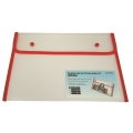 BINDERMAX A4 Colour Edge Button Wallet 01130 (Clear/Red)