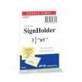 "STZ  Vertical  Acrylic Sign Holder, 3.5x5"""