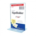 "STZ  Vertical  Acrylic Sign Holder, 4x6"""